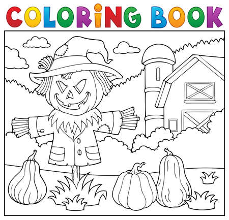 Coloring book scarecrow vector illustration.