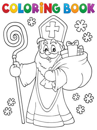 Coloring book Saint Nicholas  vector illustration.