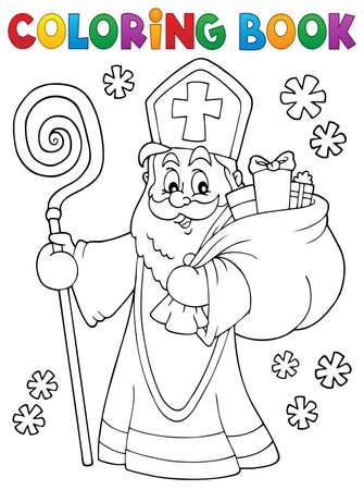 Coloring book Saint Nicholas  vector illustration.