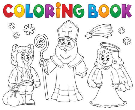 Coloring book Saint Nicholas Day  vector illustration.