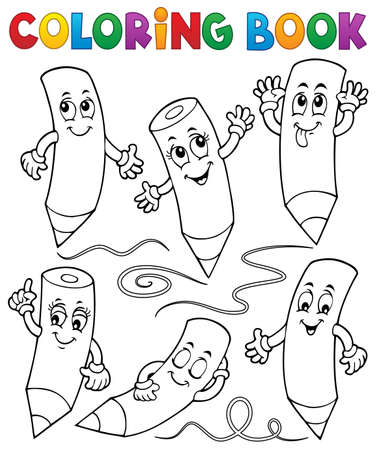 Coloring book happy wooden crayons 1 - eps10 vector illustration. Çizim