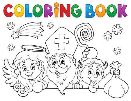 Coloring book Saint Nicholas Day 일러스트