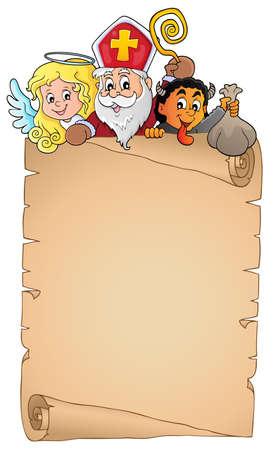 Saint Nicholas Day topic parchment 1 - eps10 vector illustration. Ilustração