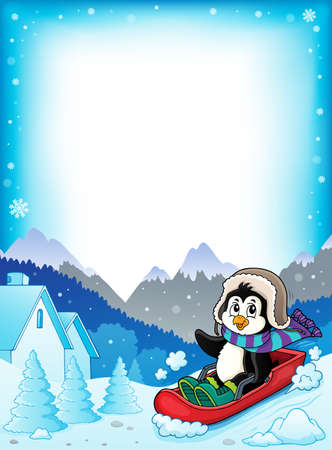 Penguin on bobsleigh theme Standard-Bild - 134629227
