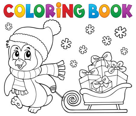 Coloring book Christmas penguin