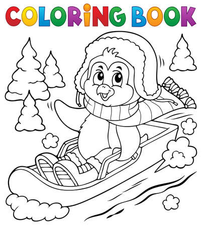 Coloring book penguin on bobsleigh