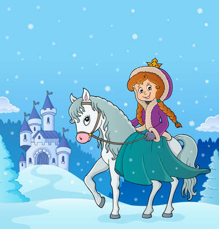 Winter princess riding horse 3 - eps10 vector illustration.
