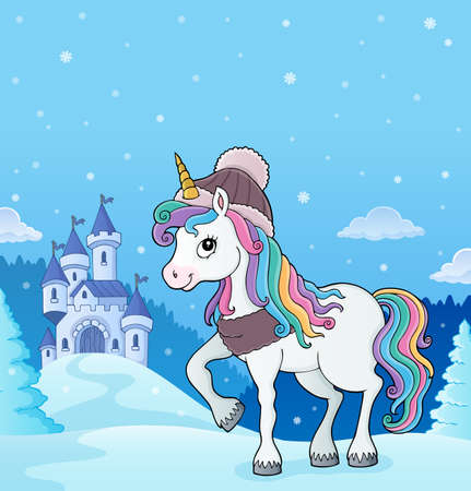 Winter unicorn theme image 3 - eps10 vector illustration.