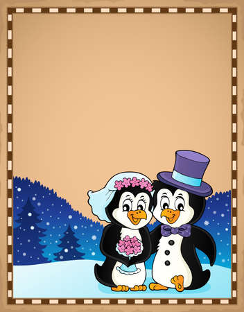 Penguin wedding theme parchment 3 - eps10 vector illustration. Ilustração
