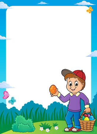 Boy with Easter eggs theme frame Illustration
