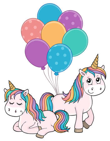 Two unicorns with balloons theme