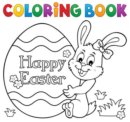 Coloring book Easter egg and bunny 1 - eps10 vector illustration.
