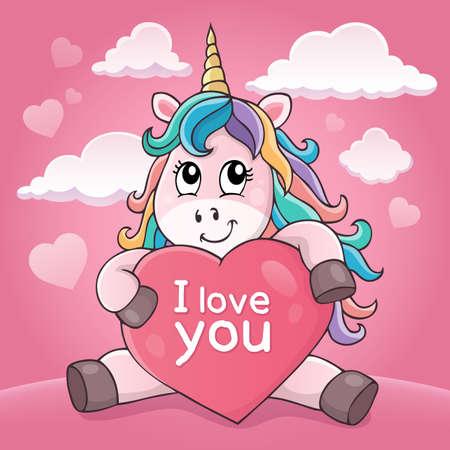 Valentine unicorn theme image Иллюстрация
