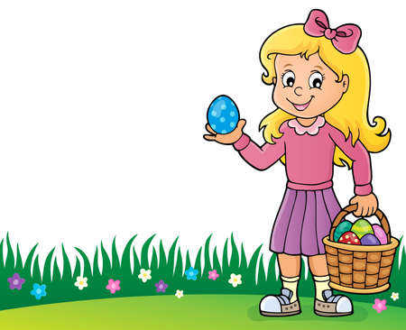 Girl with Easter eggs theme image 2 - eps10 vector illustration.