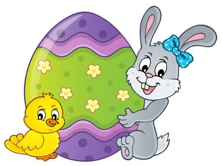 Bunny by big Easter egg topic 2 - eps10 vector illustration.