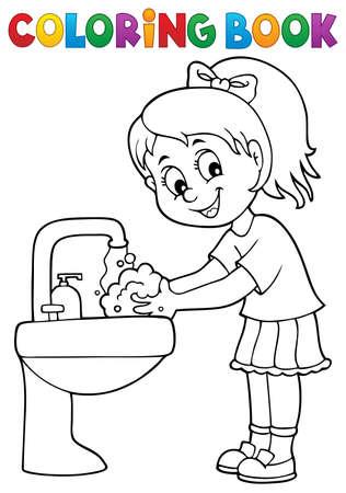 Coloring book girl washing hands theme Vecteurs