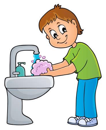 Boy washing hands theme