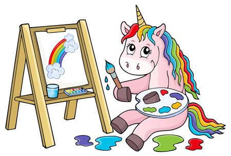 Painting unicorn theme image 2 - eps10 vector illustration. Ilustración de vector