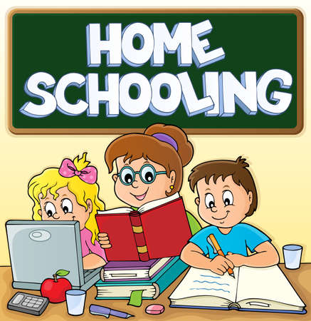 Home schooling theme image 3 - eps10 vector illustration.