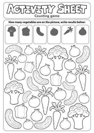 Activity sheet counting game Illustration