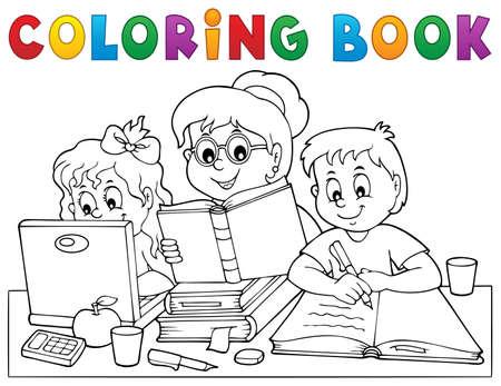 Coloring book home schooling image 1 - eps10 vector illustration. Vector Illustration