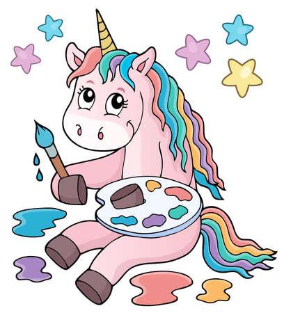 Painting unicorn theme image 1 - eps10 vector illustration.