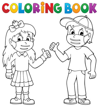 Coloring book kids in medical masks