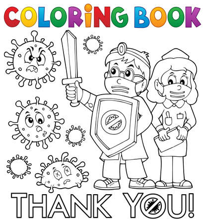 Coloring book thanks to doctor and nurse