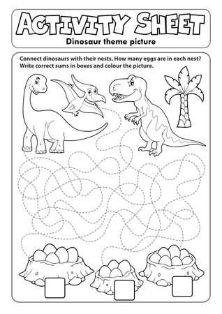 Activity sheet dinosaur theme Vector Illustration