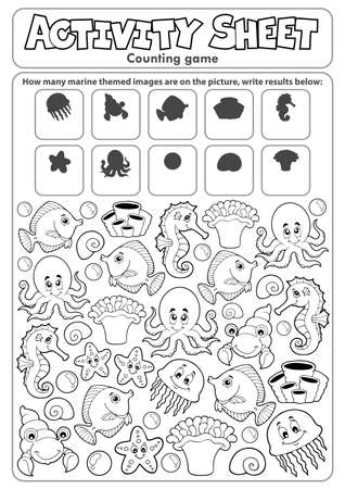 Activity sheet counting game topic