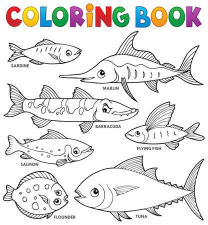 Coloring book various fishes theme set 1 - eps10 vector illustration.