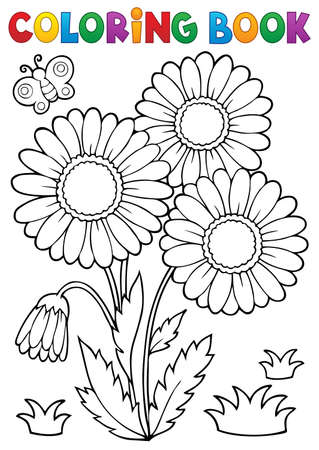 Coloring book daisy flower image