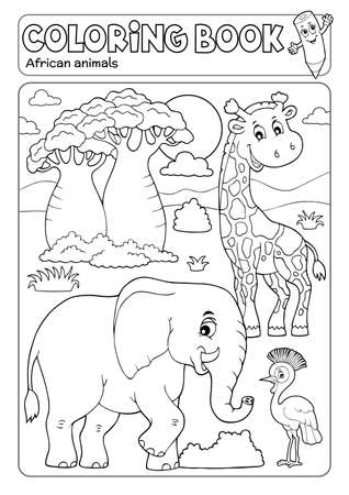 Coloring book African fauna 3 - eps10 vector illustration.