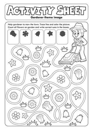Activity sheet gardener theme Illustration
