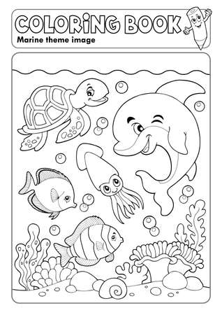 Coloring book marine life theme Illustration