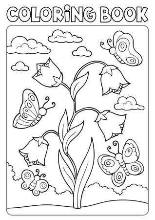 Coloring book bellflower and butterflies Ilustrace