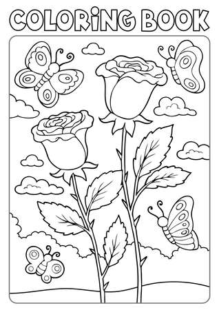 Coloring book roses and butterflies Çizim