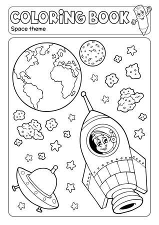 Coloring book space theme Illustration