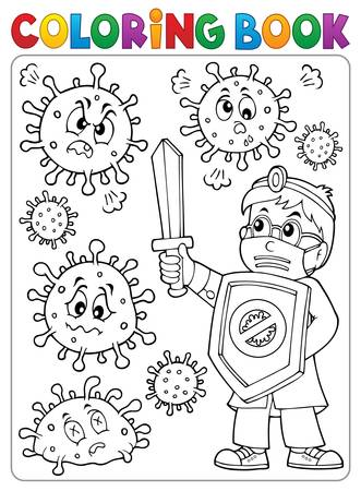 Coloring book doctor fighting virus