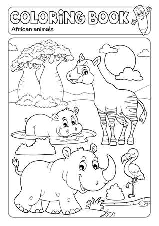 Coloring book African fauna Illustration