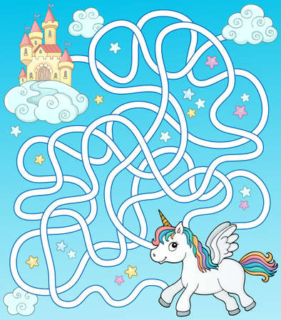 Maze 35 with flying unicorn and castle Illustration