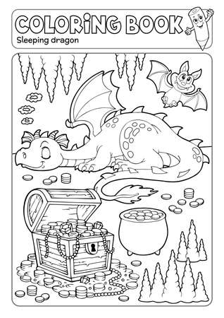 Coloring book dragon and treasure chest