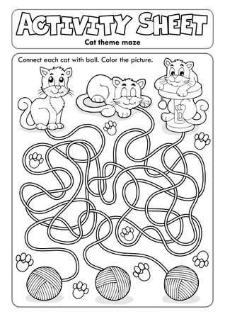 Activity sheet cat theme Ilustrace