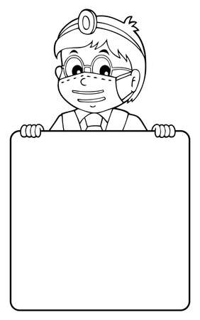 Doctor holding blank panel monochrome