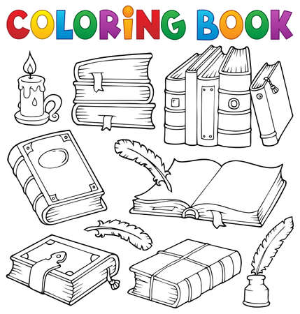 Coloring book old books theme set Illustration