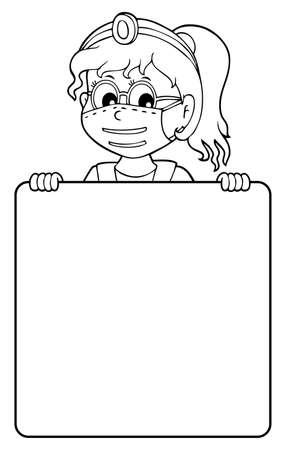Doctor holding blank panel monochrome image Ilustrace