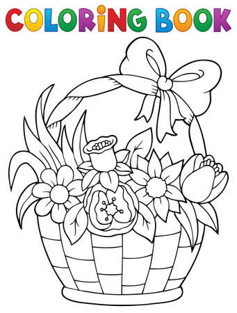 Coloring book flower basket theme