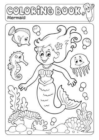 Coloring book mermaid topic