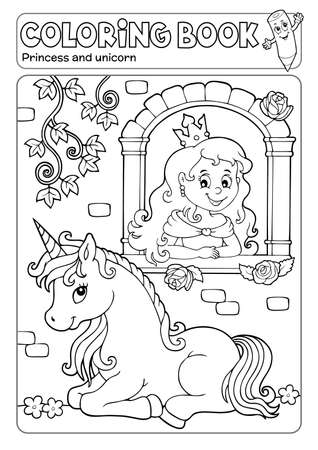 Coloring book princess and unicorn