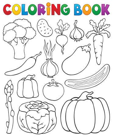 Coloring book vegetable collection Illustration